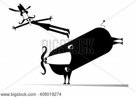 Farmer Or Cowboy And Angry Bull Illustration. Frightened Long Mustache Farmer Or Cowboy In Cowboy Ha