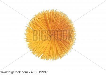Spaghetti Pasta Isolated Background. Raw Fresh Isolated Spaghetti In A Jar Before Preparing Italian