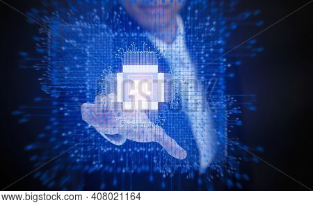 Businessman Touching Artificial Intelligence (ai),on Big Data Network Machine Learning And Data On T