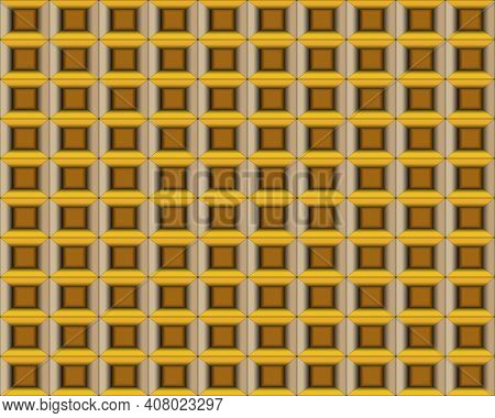 Geometric Pattern Illustration For Decoration In Gradient Yellow And Brown Color, Background And Tex