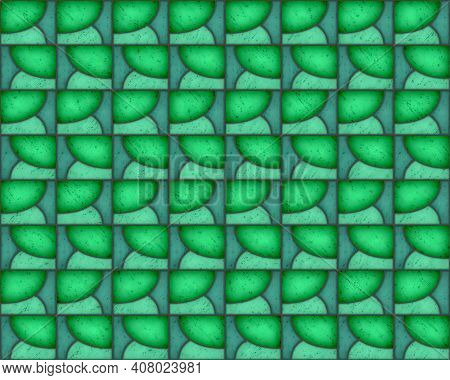 Illustration Of Geometric Pattern And Stained Glass Style In Green Colors, Background And Texture
