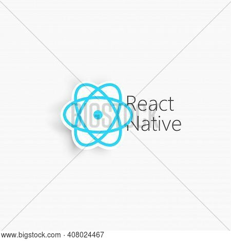 React Native. Blue Vector 3D Sign Isolated On White Background.