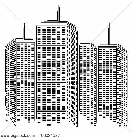 Silhouette Cityscape Isolated On White Background. Abstract Futuristic City. Vector Illustration. Ep