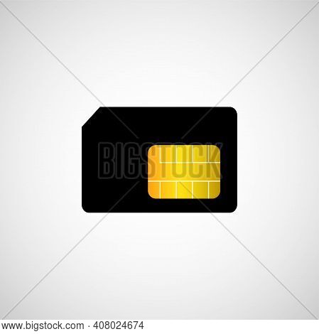 Sim Card Symbol On White Background. Vector Flat Icon