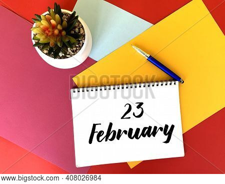 February 23 On A White Notebook On A Colorful Bright Background.next To It Is A Potted Flower And A
