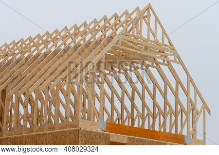 Installation Of Rafters Of A Plywood House Building Wall Studs Wooden