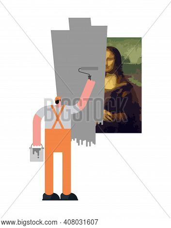 Painter Paints Over Work Of Art. Painter Paints Mona Lisa