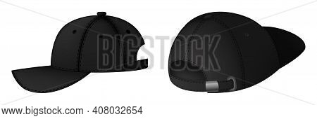 Design Template, Vector Realistic Black Baseball Cap Front, Back And Side View Isolated On Backgroun