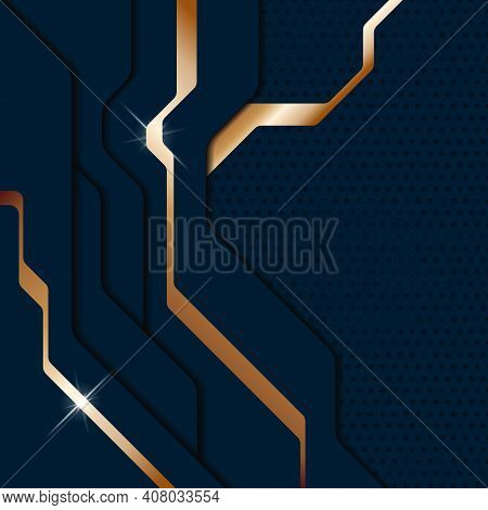 Abstract Modern Dark Blue Metallic Background. Sci-fi Techno Style Layered Plates. Vector Illustrati