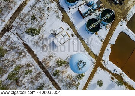 View Of Sewage Treatment Plant In Winter Season With Sewage Farm Ecological Environmental Pollution