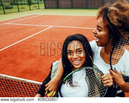Young Pretty Girlfriends Hanging On Tennis Court, Fashion Stylish Dressed Swag, Best Friends Happy S