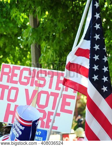Register To Vote Sign Up For People To Go Out And Vote On Election Day.