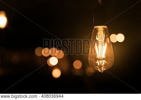 Conceptual Edison Light Closeup With Bokeh Background