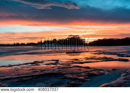 Sunset Reflection Pools On The Gold Coast Of Australia Dramatic And Colorful