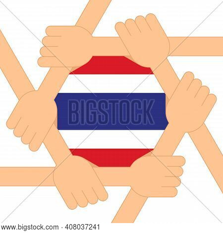 Protest For Democracy In Thailand Poster Design Template Decorative With Thailand Flag Flat Design S