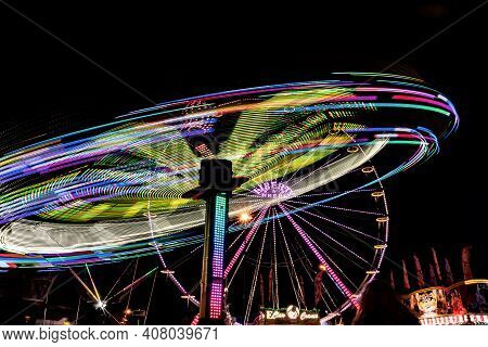 Wetzlar, Germany - 2019-10-18: Fair Ride At Night With Long Exposure In City Wetzlar Hesse