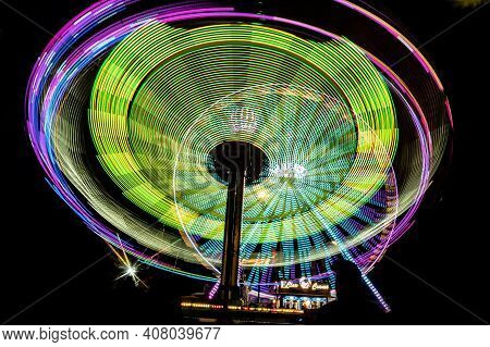 Wetzlar, Germany- 2019-10-18: Fair Ride At Night With Long Exposure In City Wetzlar Hesse