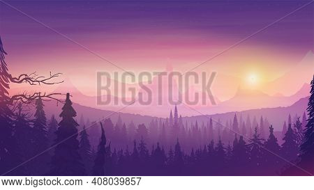 Sunset In A Hilly Area, Spruce Forest, Colorful Starry Sky And Rocky Relief Horizon