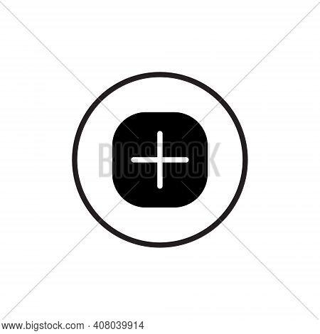Add New Picture Icon Vector Of Social Media. Plus Button Symbol Illustration