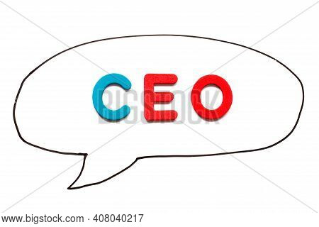 Alphabet Letter With Word Ceo (abbreviation Of Chief Executive Officer) In Black Line Hand Drawing A
