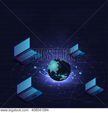 Blockchain Concept.isometric Digital Blocks Connection Vector Illustration With Connected Globe And