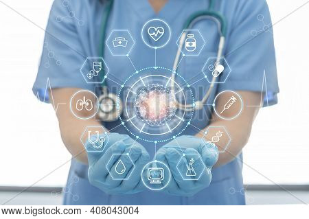 Medical Tech Science, Ai Health Technology With Surgical Doctor On Telehealth, Telemedicine And Iot