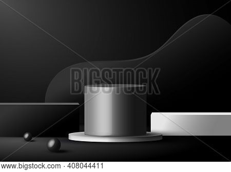 3d Minimal Scene Black And White Podiums Geometric Forms In Dark Background. Showcase Product Displa