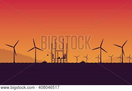 Silhouette Underconstruction Offshore Oil Rig Platform Station Site In Sea And Wind Turbine On Orang