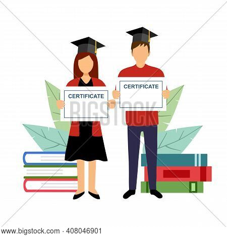 Man And Woman Students Wearing Graduation Hats And Holding Certificates With Stack Of Books On Backg