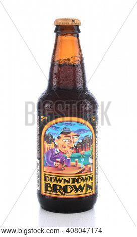 IRVINE, CA - JUNE 14, 2015: A single bottle of Downtown Brown Ale. From Lost Coast Brewery, founded in Eureka, CA by Barbara Groom and Wendy Pound in 1990.