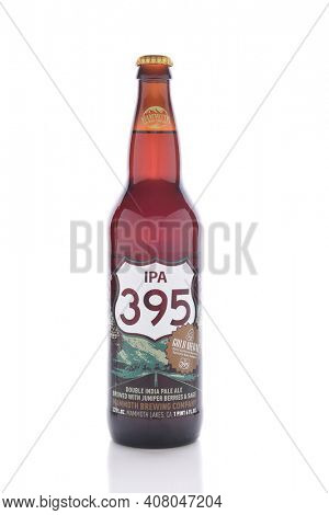 IRVINE, CALIFORNIA - JANUARY 1, 2017: IPA 395. The Double India Pale Ale is brewed by the Mammoth Brewing Company with Juniper berries and sage.