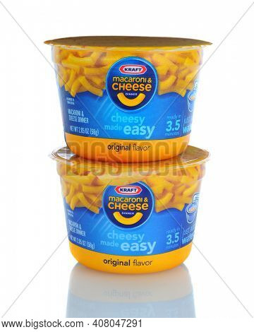 IRVINE, CA - January 11, 2013: Two containers of Kraft Macaroni and Cheese - Easy Mac. The packaged meal was first introduced in 1937 during the Great Depression.