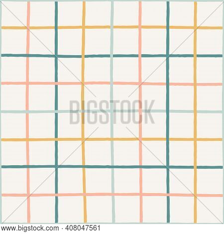 Colorful Crossed Lines Grid Pastel Seamless Vector Pattern. Hand-drawn Squared Pattern. Gender Neutr