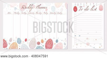 Set Of Day Organization Templates With Tribal Easter Egg. Weekly Planner And To Do List. Festive Eas