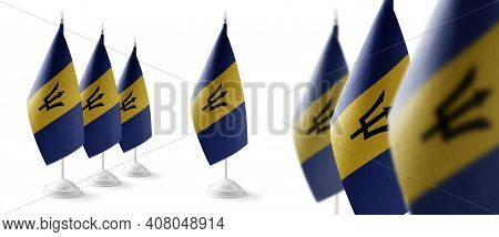 Set Of Barbados National Flags On A White Background