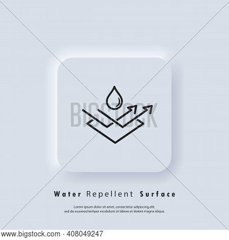Water Repellent Surface Icon. Waterproof Icon, Hydrophobic Symbol. Vector Eps 10. Ui Icon. Neumorphi
