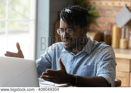 Close Up Angry African American Man Having Problem With Laptop