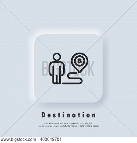 Destination Icon. Route Location. Map Location Icon. Map Pin, Direction, Paths, Navigation. Vector E