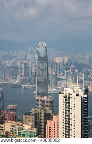 HONG KONG - APRIL 02: View from the Victoria peak on April 02, 2017 in Hong Kong, China. Hong Kong Victoria peak is the main landmark of the city.