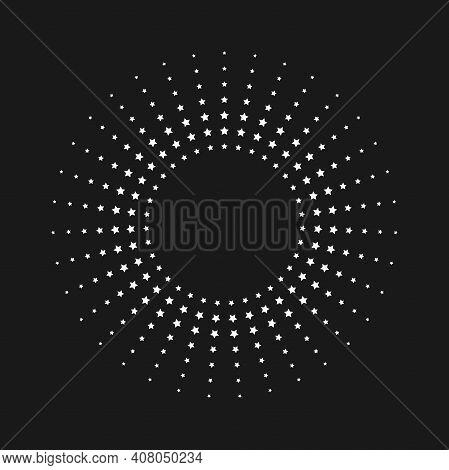 Light Rays Frame Made With Stars. Shine Burst Background. Radiant Spark, Fireworks. Vector Illustrat