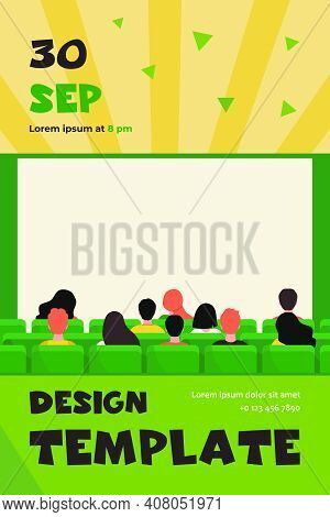 Back View Of People In Movie Theater Flat Vector Illustration. Cartoon Crowd Sitting In Rows And Wai