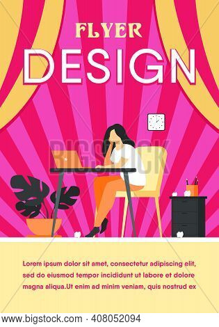 Cartoon Exhausted Woman Sitting And Table And Working Isolated Flat Vector Illustration. Tired Busin