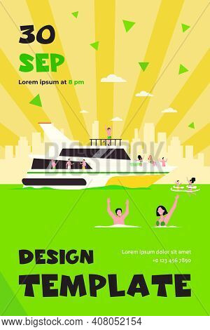 Cheerful People Sailing On Luxury Boat Isolated Flat Vector Illustration. Cartoon Character Relaxing