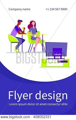 Couple Sitting At Table And Watching Tv. Together, Coffee, Family Flat Vector Illustration. Leisure