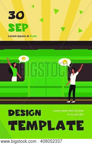 Couple Waving Good Bye In Subway. Woman In Train, Man On Platform Flat Vector Illustration. Communic