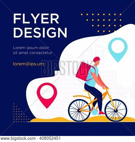Cyclist Delivering Food To Customers In City. Pin, Route, Town Flat Vector Illustration. Transportat
