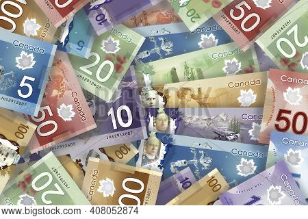 Calgary, Alberta, Canada. Feb 11, 2021. A Collage Of Canadian Bills Of Different Currency.