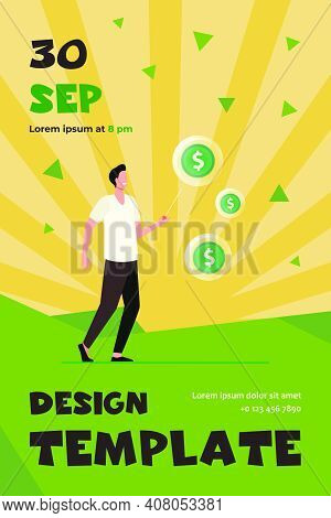 Happy Man Needling Soap Bubbles With Money. Coin, Dollar, Needle Flat Vector Illustration. Finance A