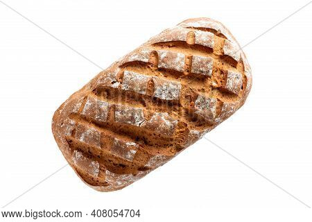 Fresh Home-made Bread With A Crispy Crust, Isolated On White Background
