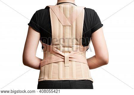 Orthopedic Corset On The Female Body Isolated On A White Background